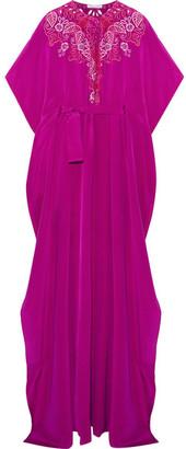 Oscar de la Renta - Broderie Anglaise Silk-satin Gown - Magenta $2,990 thestylecure.com