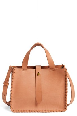 Madewell Whipstitch Mini Leather Tote Bag - Beige $138 thestylecure.com