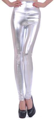 MagiDealEXY Women Girl Faux Leather High Waited Legging -ilver