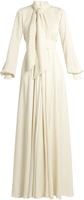 LANVIN Tie-neck balloon-sleeved cady gown $7,710 thestylecure.com