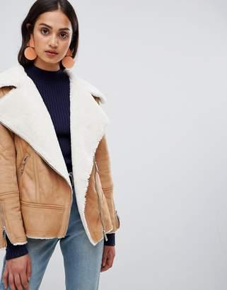 New Look faux sherling biker jacket