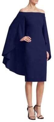 Chiara Boni Off-The-Shoulder Cape Dress