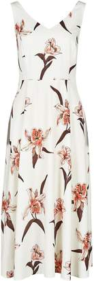 Dorothy Perkins Womens White Strappy Floral Print Sweetheart Midi Dress