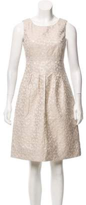 Lela Rose Metallic Jacquard Dress