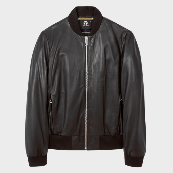 Paul SmithMen's Black Leather Bomber Jacket