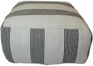One Kings Lane Moroccan Striped Pouf - Black/White