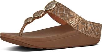 FitFlop Halo Snake-Print Leather Toe-Thongs