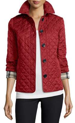 Burberry Brit Ashurst Classic Modern Quilted Jacket, Parade Red $595 thestylecure.com