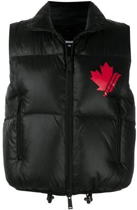 DSQUARED2 logo print puffer vest