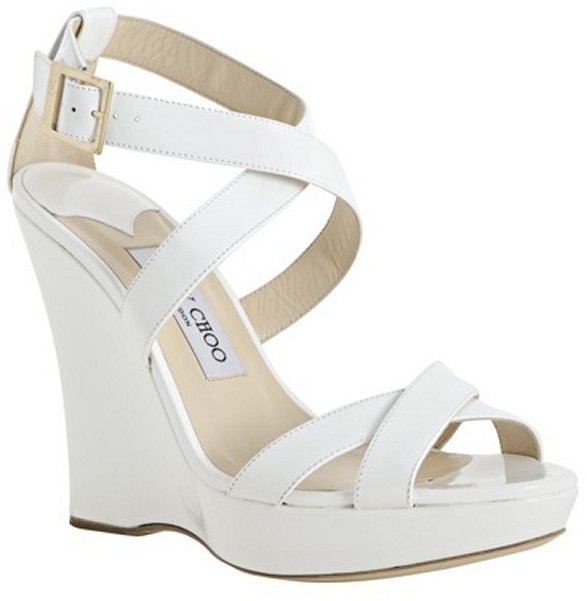 Jimmy Choo white patent leather 'Lucia' platform wedges