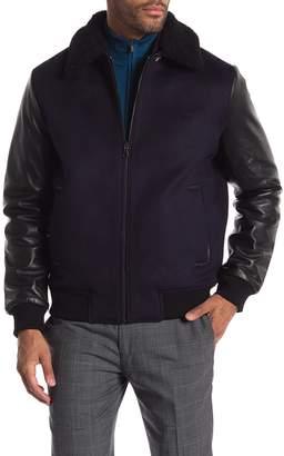 Daniel Won Genuine Shearling Collar Lamb Leather Reversible Zip Front Varsity Jacket