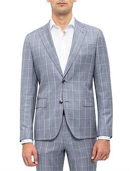 Sand 2B Sv 100% Wool Windowpane Check Suit Jacket S191