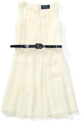 Ralph Lauren Pleated Belted Georgette Dress