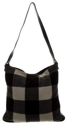 Celine Wool Leather-Trimmed Tote Black Wool Leather-Trimmed Tote