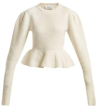 Lemaire - Peplum Hem Ribbed Knit Wool Sweater - Womens - Cream