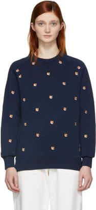 MAISON KITSUNÉ Navy Embroidered All-Over Fox Head Sweatshirt