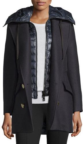 MonclerMoncler Galatea Wool Pea Coat w/Puffer Vest, Navy
