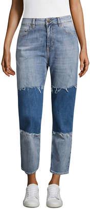 Love Moschino Two-Toned Cotton Boyfriend Pant