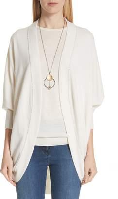 St. John Cashmere Jersey Knit Cocoon Cardigan