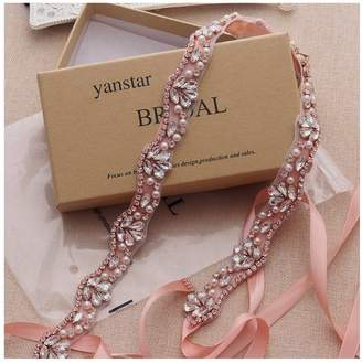 Yanstar Handmade Gold Crystal Wedding Bridal Belts With Black Sashes For Wedding Bridesmaid Dress