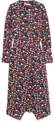 Equipment Neema Wrap-effect Floral-print Crepe De Chine Dress - Red