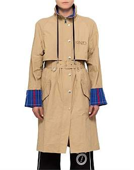 Kenzo Solid Technical Cotton Trench Coat Withplaid Collar