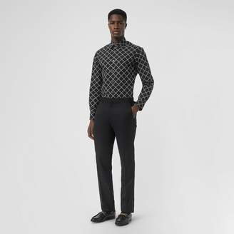 Burberry Link Print Cotton Poplin Shirt , Size: M, Black