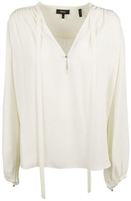 Theory Tie Neck Shift Blouse