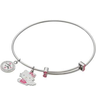 Hello Kitty Crystal Stainless Steel Charm Bangle Bracelet