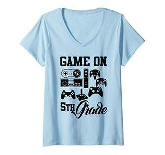 Womens Video Game On Fifth Grade Back to School for Students Gamer V-Neck T-Shirt