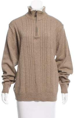 Oscar de la Renta Half-Zip Rib Knit Sweater