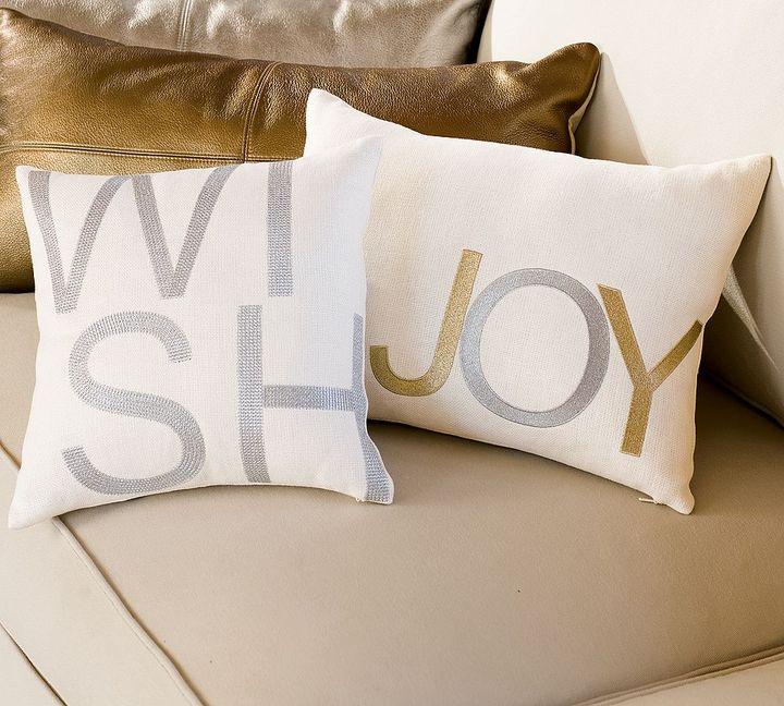 Metallic Embroidered Sentiment Pillows