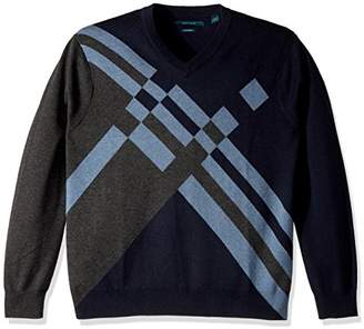 Perry Ellis Men's Big and Tall Argyle Knit V-Neck Sweater