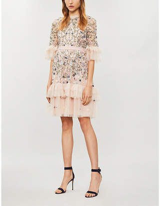 NEEDLE AND THREAD Floral-embroidered tulle dress