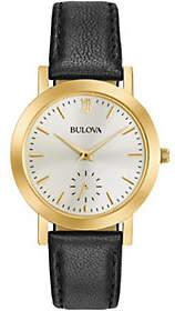 Bulova Ladies' Black Leather Strap Watch