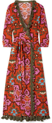 Rhode Resort - Lena Tasseled Printed Cotton-voile Maxi Dress - Red