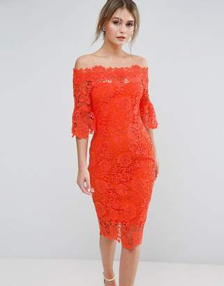 Paper Dolls off shoulder crochet midi dress with frill sleeve