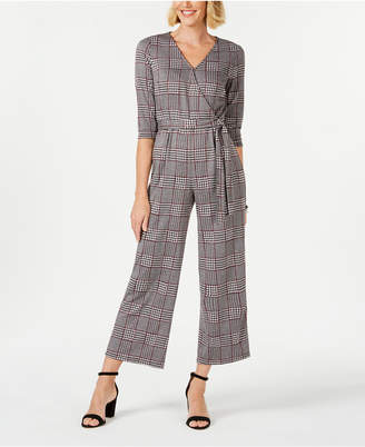 NY Collection Petite Crossover Plaid Jumpsuit