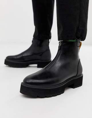 9ffe88913 Asos Design DESIGN chelsea boots in black faux leather with zip front and  chunky sole
