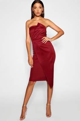 boohoo Tall Bandeau Wrap Detail Midi Dress