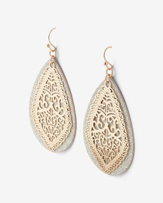 Express Teardrop Glitter Filigree Drop Earrings