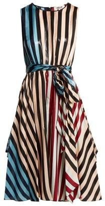 Diane von Furstenberg Carrington Stripe Silk Blend Dress - Womens - Multi