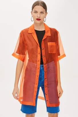 Topshop Organza Long Line Shirt by Boutique