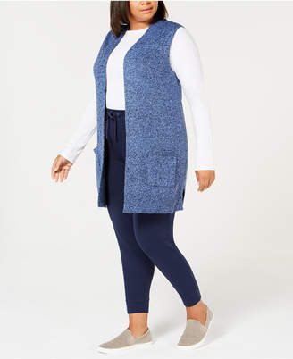Karen Scott Plus Size Marled Duster Sweater Vest