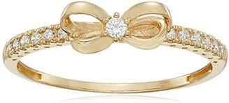 Swarovski 10K Gold Dainty Bow Ring set with Round Cut Zirconia (.216 cttw)