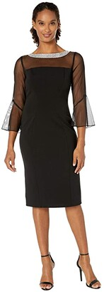 Alex Evenings Short Shift Dress with Beaded Illusion Neckline and Bell Sleeves