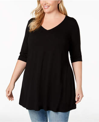 Eileen Fisher Plus Size Stretch Jersey V-Neck Peplum Top