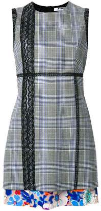 MSGM lace trim check fitted dress