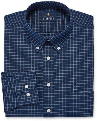 STAFFORD Stafford Travel Stretch Wrinkle Free Big And Tall Long Sleeve Oxford Plaid Dress Shirt