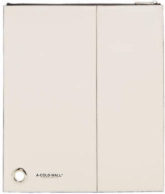 A-Cold-Wall* White Leather Zip Pouch